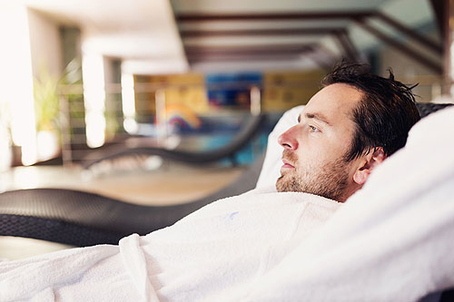 Man relaxing at spa