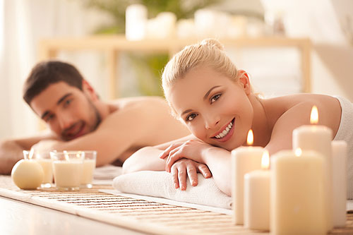Couple enjoying spa services