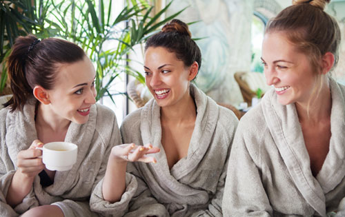 Three women relaxing at the spa